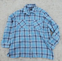 NY & Co Men's Size L Acrylic Wool Blend Blue Plaid Flannel Snap Shirt PERFECT