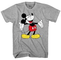 Disney Mickey Mouse Laughing World Funny Humor Men's Adult Graphic T-shirt Tee