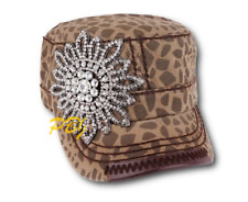 Olive and Pique Rhinestone Flower Cadet Baseball Military Cap Blinged Castro Hat
