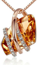 Ladies Fashion 18k Rose Gold Plated Citrine White Zircon Necklace Jewelry Gift