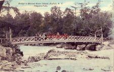 BRIDGE TO SECOND SISTER ISLAND, BUFFALO, NY NIAGARA FALLS 1911 people on bridge