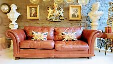 3332 Chesterfield Leather Laura Ashley 3 Seater Sofa Ox Blood Brown  courier av