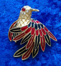 Bijou BROCHE OISEAU brooch bird multi-color crystal enamel doré émail - Animal