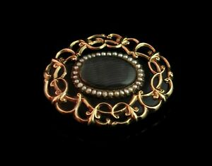 Antique Victorian mourning brooch, 9ct gold, black enamel and seed pearl