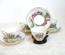 Evangeline's Acadian Garden Crown Staffordshire, Cups And Saucers, Set Of Four
