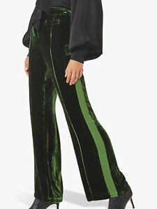 Ghost London Emily Stripe Velvet Pants Trousers RRP 195£ Forest Green Size S🌳