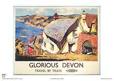 Clovelly Devon Railway Travel Poster Retrò Vintage Adverising Art Print