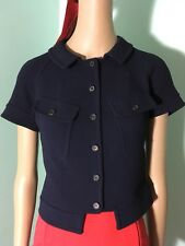 "Dereck Lam "" SAMPLE""  Dark Blue Peter Pan Collar Wool Crepe? Cropped Jacket  S"