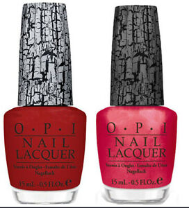 OPI Nail Lacquer Red Shatter E55 and Pink Shatter E58. Pack of 2 Bottles