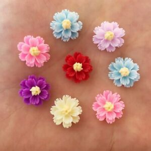 80pcs Resin 13mm 3D flower Flatback R92*2 crafts Ornaments DIY Buttons wedding