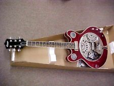 NEW 6 STRING RESONATOR DOUBLE CUTOUT TRANS RED ELECTRIC JAZZ GUITAR