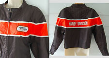 Womens HARLEY DAVIDSON Racing Jacket XL Quilted Coat Black Orange Motorcycle L/S