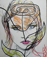 Tableau moderne dessin Abstrait peinture portrait signé cote ArtPrice Akoun