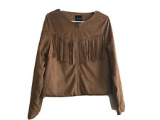 Women's Me Jane Camel Colored Lightweight Faux Suede Fringe Jacket Size M