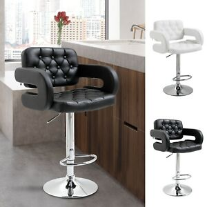 HOMCOM Bar Stool Kitchen Breakfast Barstool Seat Chrome Metal Base Dining Room