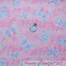 BonEful Fabric FQ Flannel Cotton Pink Purple BUTTERFLY Girl Glitter MUSIC Notes