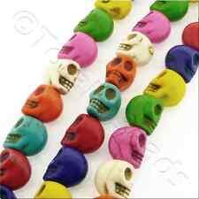 Turquoise synthétique crânes 12x15mm-Couleurs mélangées - 25 pièces