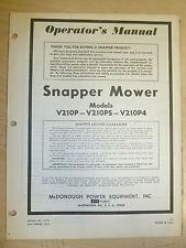 SNAPPER V210P V210PS V210P4 WALK MOWERS PARTS MANUAL # 1-1914