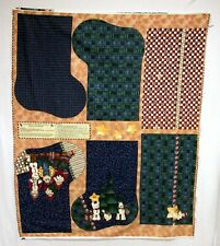 Checkered Past Christmas Stocking Cotton Fabric Panel by Kathi Walters 34x44