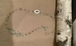 "Silpada Sterling Oval Links/Hammered Links Chain Necklace 35""L. N1506 23.5g."