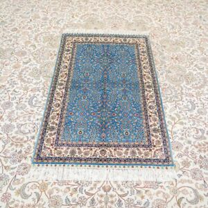 YILONG 3'x4.5' Handknotted Silk Carpet Home Office Blue Floral Area Rug YWX154A