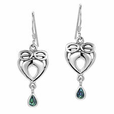 Infinite Love Celtic Heart Abalone Shell Inlaid .925 Silver Earrings