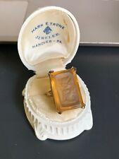 Vintage Orange Cameo 14K Solid Gold Carved Lady Cocktail Ring 10.2 Grams!! NR