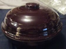BEAN POT MADE IN U.S.A. 9 1/2 ACROSS X 3 DEEP AND COMES WITH A LID STONEWARE