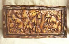 Primitive Hand Carved Wooden Plaque - Haiti - Pickin' Up Coconuts - 8x16