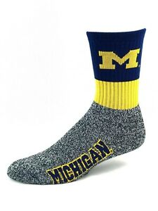 Michigan Wolverines Marbled Foot Yellow & Navy Top Crew Socks