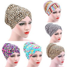 AU_ Women's Leopard Muslim Stretch Turban Hat Chemo Cap Hair Loss Head Scarf Cle