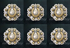 Set of 6 ANTIQUE GOLD HORSE SHOE BERRY WESTERN TACK CONCHOS 1 inch screw back
