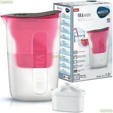 BRITA Fill & Enjoy Fun 1.5L Fridge Water Filter Jug MAXTRA Refill Cartridge Pink