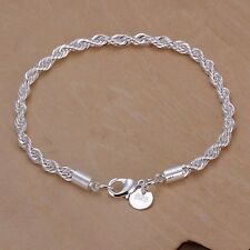 925 Silver Plated Bracelet 3mm Twisted Rope Chain Women Fashion Jewelry