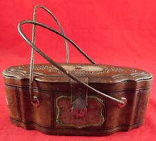 Victorian Ladies 1850s Leather Etui Sewing Companion Necessaire Valise Box Purse