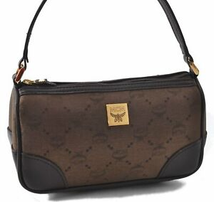 Authentic MCM Nylon Leather Vintage Hand Bag Pouch Brown B5275