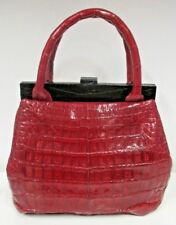 NANCY GONZALEZ Red Crocodile Top Handle Bag with Black Frame - NWT