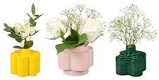 Orla Kiely Set of 3 X Ceramic Stem Vases (Yellow, Pink, Green) - New & Boxed