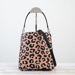 NWT Kate Spade Darcy Graphic Leopard Small Bucket Bag Crossbody