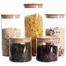Set of 5 Glass Jar With Lid Stackable Kitchen Canisters Clear Food Storage