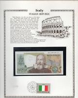 Italy 2000 Lire 1976 P 103b UNC w/FDI UN FLAG STAMP Prefix RA Suffix P