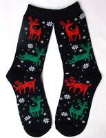 Charter Club Women's Holiday Crew Socks Prancing Reindeer Black Size 9-11