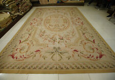10' X 14.3' Vintage Aubusson French Acanthus Scroll Floral Rug Flat Weave Beige