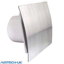 "Bathroom Extractor Fan 100mm/4"" pick option Timer Pullcord Humidity Brush Steel"