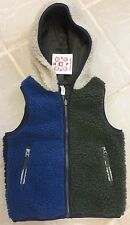 New Hanna Andersson Reversible Navy & Green Sherpa Hooded Vest sz 100 (3-5 yr)
