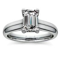 Solitaire 2.06 Carat Emerald Cut Diamond Engagement Ring 14k White Gold VS2 J