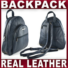 NAVY REAL LEATHER BACKPACK small rucksack travel shoulder bag GENTS WOMENS NEW