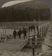 New Pontoon Bridge in the French Sector of the Western Front. WW1 Stereoview