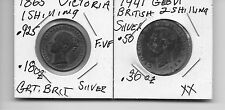 1865 BRITISH 1 SHILLING AND 1941 BRITISH 2 SHILLING  SILVER COINS