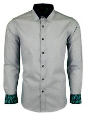 Hombre Estampado Manga Larga Elástico Camiseta Para Boda Fiesta Casual (465)